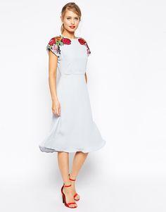 ASOS Midi Skater Dress with Embroidered Shoulder Detail