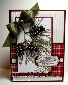 Monday, October 20, 2014 Stamping with Julie Gearinger: Festive Pines- Christmas Wishes to You and Yours :-) That's the Ticket, Ticket Duo Punch, Trim the Tree DSP