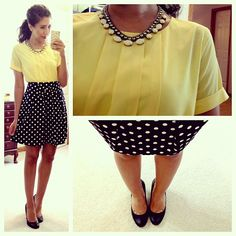 .@hellogorginsta (Yasi) 's Instagram photos | Webstagram - the best Instagram viewer love the pleated yellow top and polka dot skirt