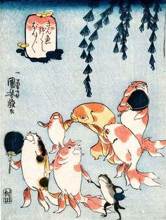 Kingyo-zukushi is one of the gi-ga(戯画) that the theme is funny picuture. Kuniyoshi personified goldfishes in the 9 ukiyo-e prints. Japanese Artwork, Japanese Painting, Japanese Prints, Japan Illustration, Japanese Woodcut, Kuniyoshi, Art Japonais, Japan Art, Japanese Culture