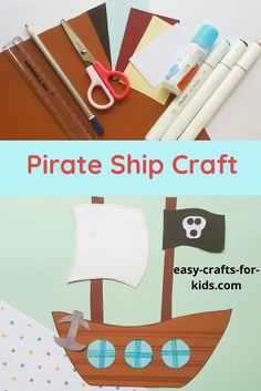 This pirate ship craft with paper is the perfect craft for the Summer vacation! Beach Crafts For Kids, Cute Kids Crafts, Ocean Crafts, Easy Crafts, Pirate Ship Craft, Pirate Crafts, Homemade Pirate Costumes, Pirate Kids, Color Crafts