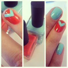 mint and orange nails.  by Moorea Seal