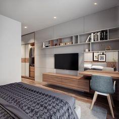 42 Fabulous Modern Bedroom Interior - 2020 Home design Bedroom Design Inspiration, Modern Bedroom Design, Home Office Design, Home Interior Design, House Design, Design Ideas, Bedroom Designs, Modern Bedrooms, Contemporary Bedroom