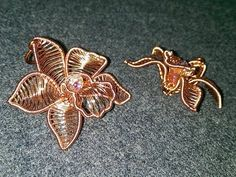 Cymbidium orchid - Copper Flower 3D pendant
