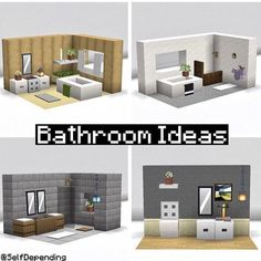 I made a few bathroom ideas that you can use in your house! :) - Minecraftbuilds Minecraft House Plans, Minecraft Mansion, Minecraft Cottage, Easy Minecraft Houses, Minecraft House Tutorials, Minecraft Room, Minecraft House Designs, Minecraft Decorations, Amazing Minecraft