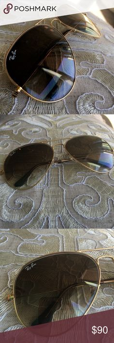 Gold metal Ray Bans Gold metal Ray bans in the large size! 100% authentic and comes with case Ray-Ban Accessories