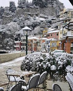 Parga, Greece (who knew it snowed there). Places To Travel, Places To See, Myconos, Winter Travel, Winter Scenes, Greece Travel, Greek Islands, Belle Photo, The Good Place