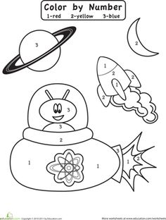 Preschool Color by Number Counting & Numbers Worksheets: Color by Number: Outer Space Worksheet. For my class instead match the number word to the number to find the color Space Preschool, Preschool Colors, Preschool Themes, Preschool Lessons, In Kindergarten, Preschool Activities, Math Lessons, Outer Space Theme, Outer Space Crafts