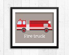 Trucks transportation boy art prints fire por RainbowsLollipopsArt