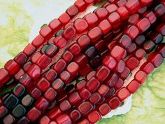 """Red Horn Cube Beads Recycled/59 beads/16""""strand by BeachCastleBeads, $4.75"""