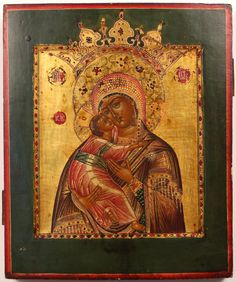 Russion Icon Virgin of Vladimir. 19th Century, in the Byzantine style, with a gilt reserve on a dark green ground, tempera on cradled board, 12 1/2 x 10 1/2 x 1 1/2""