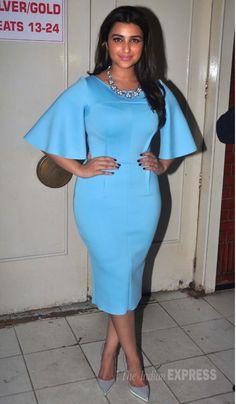 Parineeti Chopra was stylish in a sky blue @gauriandnainika dress with grey pumps at the screening of 'Kill Dil'. #Bollywood #Fashion #Style #Beauty