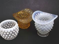 Three Vintage Glass Toothpick Match Holders Opalescent Button and Daisy  at Saltymaggie's Treasures on Ruby Lane