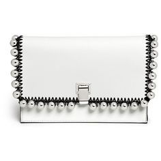 Proenza Schouler 'Lunch Bag' small metallic pompom crochet leather... (¥101,570) ❤ liked on Polyvore featuring bags, handbags, clutches, purses, white, genuine leather handbags, white purse, hand bags, genuine leather purse and metallic clutches