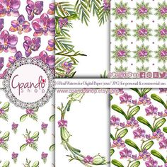 Orchid watercolor digital paper, floral watercolor, floral digital paper, orchid invitations, perfect for weddings, baby showers, nursery