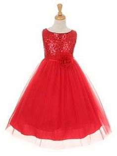 Girls Dress Style 6357 - Sleeveless Tulle Dress with Sequin Adorned Bodice in Choice of Color