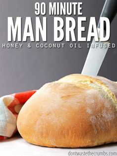 This man bread recipe is so easy, even a man can make it. It was after all, developed by one! Create an awesome, man-sized loaf, or a dozen rolls of homemade bread in just a quick 90 minutes. Easy and healthy recipes for novice or men cooks alike! #bread #homemade #loaf #recipes #healthy #easy #quick #best Bread Recipes, Real Food Recipes, Cooking Recipes, Healthy Recipes, Cooking Kale, Camping Cooking, Cooking Hacks, Cooking Salmon, Cooking School