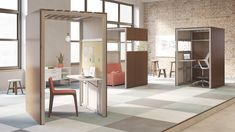 OFS Brands RE two and three sided pods.  Single user or group private retreat.  Laminate or veneer with felt interior, adjustable tables or fixed.  Freestanding and flexible.  Study carrels, private booth, room within a room.  Starting at estimated purchase price $4,000.