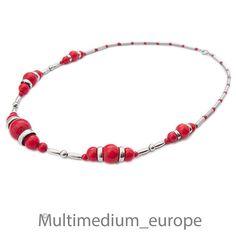 Collier Art Deco 30er Jahre necklace 30s versilbert rot wohl Jakob Bengel