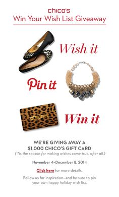 Wish it, pin it and you could #WIN it. Grand-prize winner gets a $1,000 Chico's Gift Card. Enter our Win Your Wish List Giveaway now through 12/8. #chicossweeps Holiday Wishes, Holiday Gift Guide, Gifts For Brother, Gifts For Dad, Chico Clothing, Chicos Fashion, Silpada Designs, Conservative Fashion, Thing 1