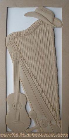 Cuadro típico llanero tallado en madera - artesanum com