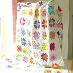 Granny Square Afghan Crochet Multi Color by ReneeBrownsDesigns, $92.00