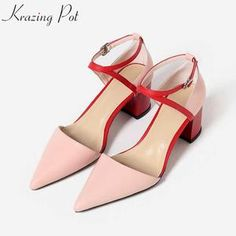 1fc0e629dd88 Krazing pot full grain leather brand shoes high heels women sandals shallow  ankle straps decorations model