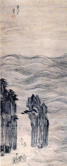 (Korea) Mun rock in Mt Geumgang in Goseong province by Jeong Seon color on paper. Asian Artwork, Chinese Artwork, Korean Painting, Chinese Painting, Ink In Water, Modern Pictures, Buddhist Monk, China Art, Old Paintings
