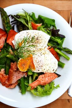 Smoked Salmon and Asparagus Salad with Poached Eggs From The Kitchen