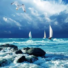 sailing the ocean blue Sea And Ocean, Ocean Beach, Ocean Waves, Sky Sea, Ocean Sunset, Blue Beach, Big Waves, Beautiful World, Beautiful Places