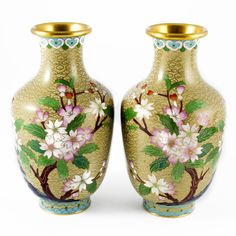 Vintage Pair of Enameled Cloisonné Vases #thehighboystyle