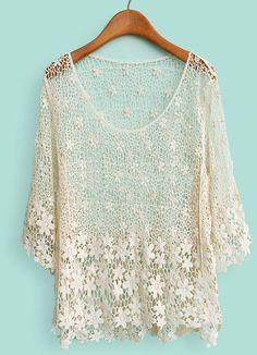 Beige Half Sleeve Hollow Lace Embroidery T-Shirt