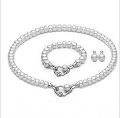 La Vivacita Eternal Luxury necklace bracelet earrings set real pearl 925…