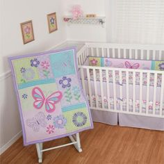 Sumersault Butterfly Bouquet 4-Piece Crib Bedding Set