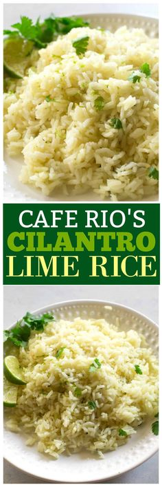 This Cilantro Lime Rice is made with a little butter rice limes and cilantro. Its the perfect Mexican side dish and a staple in our Cafe Rio meals. the-girl-who-ate- Mexican Side Dishes, Best Side Dishes, Side Dish Recipes, Rice Recipes, Mexican Food Recipes, Cooking Recipes, Healthy Recipes, Copycat Recipes, Cooking Rice