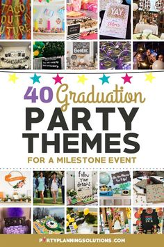 If you are feeling overwhelmed at the thought of planning your upcoming graduation party, not to fret! We've got some graduation party ideas to get you off to a great start! It's time to give your grad the day they have worked so hard for! PIN NOW for over 40 Awesome Graduation Party Themes! #graduationpartyideas #graduationparty #partyideas #partyplanning #partythemes #gradparty