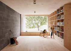 Interior shot of a house situated within the forested landscape of Vorarlberg, Austria.