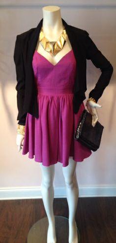 Keepsake Perfect Stranger Dress – $174.00 Amanda Uprichard Blazer – $232.00 Back To Future Necklace – $48.00 MK Chain Bracelet – $22.00 Snake Slinky Bracelet – $28.00 Urban Expressions Clutch – $65.00 from The Pink Hanger