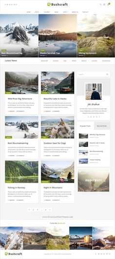 Bushcraft is a modern design #PSD template for personal #blogs with 17 organized PSD pages download now➩ https://themeforest.net/item/bushcraft-personal-blog-template/19486471?ref=Datasata