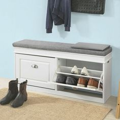 SoBuy Hallway Shoe Storage Bench Cabinet with Flip-drawer & Cushion IN STOCK: best prices on SoBuy Hallway Shoe Storage Bench Cabinet with Flip-drawer & Cushion – choose between 36 Shoe racks and tidies - Aufbewahrung Hallway Shoe Storage Bench, Shoe Storage Cupboard, Shoe Drawer, Coat Storage, Corner Storage, Shoe Cabinet, Storage Shelves, Shoe Storage And Seat, Ikea Shoe Bench