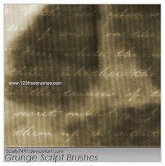 Grunge Script - Download  Photoshop brush https://www.123freebrushes.com/grunge-script/ , Published in #GrungeSplatter. More Free Grunge & Splatter Brushes, http://www.123freebrushes.com/free-brushes/grunge-splatter/   #123freebrushes