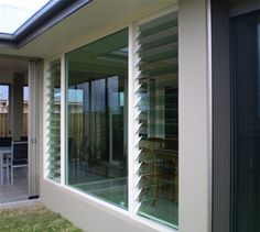 A mix of louvered and solid glass windows Windows, Windows And Doors, Louvre Windows, House Exterior, New Homes, Exterior Remodel, Louver Windows, Jalousie Window, Louvre Doors