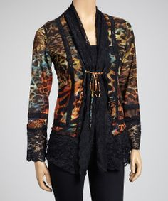 Black Picturesque Lace Tie-Front Cardigan