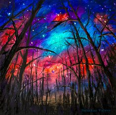 Original Acrylic painting Night starry sky in the forest. Painting size: x / x Buy painting by artist Valery Rybakow. Bright Paintings, Buy Paintings, Acrylic Paintings, Watercolor Galaxy, Galaxy Painting, Beautiful Landscape Paintings, Modern Oil Painting, Van Gogh Art, Original Paintings For Sale
