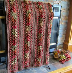 autumn fall stripe crochet blanket afghan by DonnasPinsandNeedles, $179.95