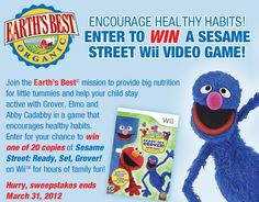 Enter to Win a Sesame Street Wii Game ~ Earth's Best and Kiwi Magazine Sweepstakes (daily)