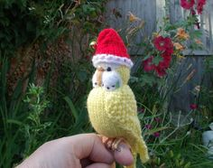 "Budgerigar  Knitted life size Budgie Parakeet  "" Primrose""  needle felted  OOAK"