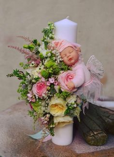 Wedding Bouquets, Wedding Flowers, Baptism Candle, Wedding Bottles, Baby Christening, Baby Party, Baby Sewing, Candle Making, Baby Shower Decorations