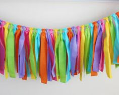 Rainbow Rag Tie Garland, 1st Birthday Banner, Highchair Banner, Rainbow Party  Art Party, Spring Easter Decor, Oh the Places You'll Go Party