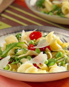 """Campanelle with Fresh Arugula and Peas. Campanelle means """"little bells ..."""